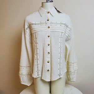 NWT Free People Ivory Button Up Blouse S